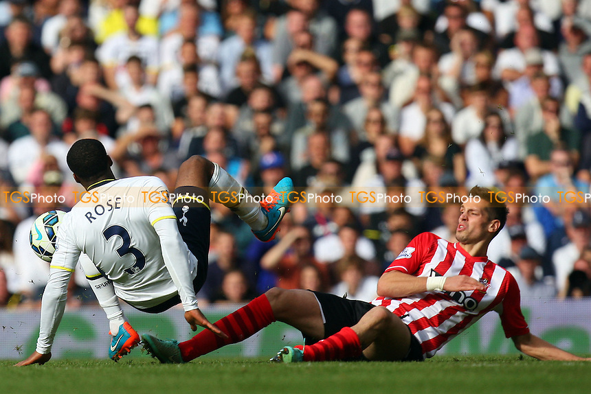 Morgan Schneiderlin of Southampton and Danny Rose of Tottenham Hotspur - Tottenham Hotspur vs Southampton - Barclays Premier League action at the White Hart Lane Stadium on 05/10/2014 - MANDATORY CREDIT: Dave Simpson/TGSPHOTO - Self billing applies where appropriate - 0845 094 6026 - contact@tgsphoto.co.uk - NO UNPAID USE