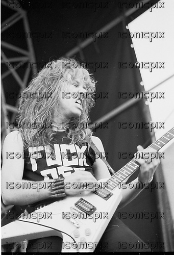 METALLICA - vocalist and guitarist James Hetfield - performing live at The Sportsfield in Poperinge Belgium - 10 June 1984.  Photo credit: PG Brunelli/IconicPix
