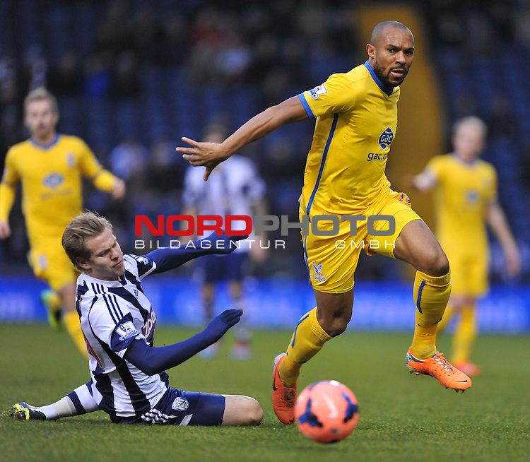 Crystal Palace's Danny Gabbidon pushes past West Bromwich Albion's Matek Vydra-  04/01/2014 - SPORT - FOOTBALL - West Bromwich - The Hawthorns - West Brom v Crystal Palace - FA Cup - Third Round<br /> Foto nph / Meredith<br /> <br /> ***** OUT OF UK *****