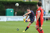 Jake Sharp of London Scottish scores from a penalty during the Greene King IPA Championship match between London Scottish Football Club and Hartpury RFC at Richmond Athletic Ground, Richmond, United Kingdom on 28 October 2017. Photo by David Horn.