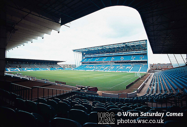 Maine Road, Manchester City c1996. View of the Kippax Stand.(Exact date tbc). Photo by Tony Davis