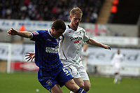 Pictured: Alan Tate of Swansea (R) against Alex Bruce of Ipswich Town (L)<br /> Re: Coca Cola Championship, Swansea City FC v Ipswich Town at the Liberty Stadium. Swansea, south Wales, Saturday 07 February 2009<br /> Picture by D Legakis Photography / Athena Picture Agency, Swansea 07815441513