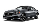 Stock pictures of low aggressive front three quarter view of a 2018 Mercedes Benz E-Class E400 2 Door Coupe