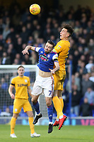 Preston North End's Josh Earl heads away from Ipswich Town's Gwion Edwards<br /> <br /> Photographer David Shipman/CameraSport<br /> <br /> The EFL Sky Bet Championship - Ipswich Town v Preston North End - Saturday 3rd November 2018 - Portman Road - Ipswich<br /> <br /> World Copyright &copy; 2018 CameraSport. All rights reserved. 43 Linden Ave. Countesthorpe. Leicester. England. LE8 5PG - Tel: +44 (0) 116 277 4147 - admin@camerasport.com - www.camerasport.com