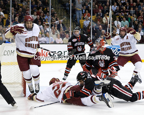 Matt Lombardi (Boston College - 24), Andrew Orpik (Boston College - 27), Mike Hewkin (Northeastern - 28), Brad Thiessen (Northeastern - 39), Denis Chisholm (Northeastern - 24), Tim Filangieri (Boston College - 5) - The Northeastern University Huskies defeated the Boston College Eagles 6-1 in their opening 2009 Beanpot game at TD Banknorth Garden in Boston, MA.