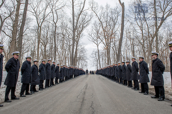 Mar. 4, 2015; ROTC students in military uniform along the procession route for the funeral of President Emeritus Rev. Theodore M. Hesburgh, C.S.C. (Photo by Barbara Johnston/University of Notre Dame)