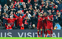 Liverpool players celebrate Sadio Mane's opener<br /> <br /> Photographer AlexDodd/CameraSport<br /> <br /> The Premier League - Liverpool v Manchester United - Sunday 16th December 2018 - Anfield - Liverpool<br /> <br /> World Copyright © 2018 CameraSport. All rights reserved. 43 Linden Ave. Countesthorpe. Leicester. England. LE8 5PG - Tel: +44 (0) 116 277 4147 - admin@camerasport.com - www.camerasport.com