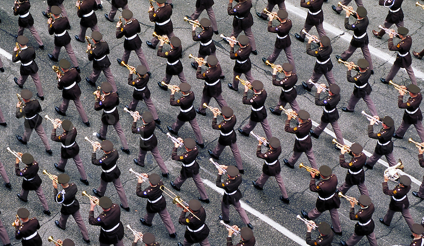 Texas A&M Marching Band at the Houston Livestock Show and Rodeo Parade. Houston Texas.