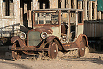 1920s Dodge Brothers station wagon and old Pullman passenger car, Goldfield, Nev.