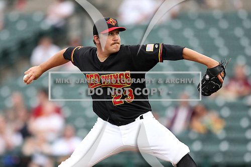 Rochester Red Wings Pitcher Rob Delaney (23) during a game vs. the Norfolk Tides at Frontier Field in Rochester, New York;  May 31, 2010.   Norfolk defeated Rochester by the score of 2-1.  Photo By Mike Janes/Four Seam Images