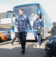 Dayle Southwell of Wycombe Wanderers arrives ahead of the Sky Bet League 2 match between Grimsby Town and Wycombe Wanderers at Blundell Park, Cleethorpes, England on 4 March 2017. Photo by Andy Rowland / PRiME Media Images.