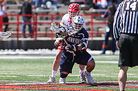 College Park, MD - April 8, 2017: Penn State Nittany Lions Billy Lombardi (44) wins the faceoff during game between Penn State and Maryland at  Capital One Field at Maryland Stadium in College Park, MD.  (Photo by Elliott Brown/Media Images International)