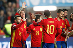 Spain's players celebrate goal during FIFA World Cup 2018 Qualifying Round match. March 24,2017.(ALTERPHOTOS/Acero)