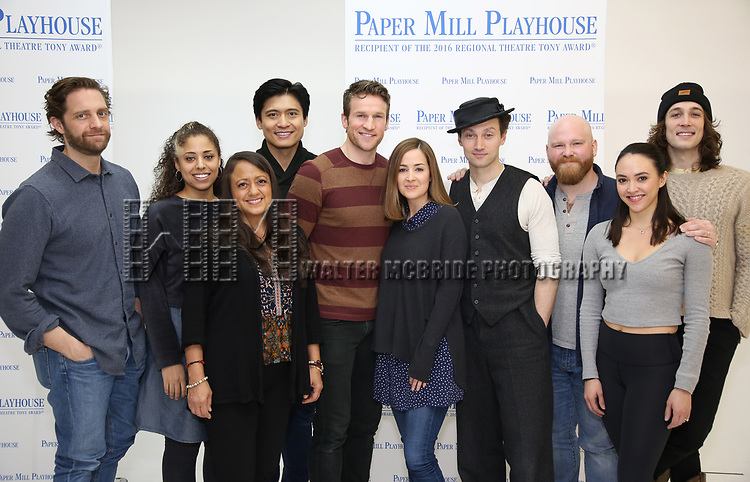 """Colin Hanlon, Tatiana Wechsler, Natalie Toro, Paolo Montalban, Claybourne Elder, Hannah Elless, Bryce Pinkham, Jacob Keith Watson, Belinda Allyn and Conor Ryan during the meet the cast photo call for the Paper Mill Playhouse production of  """"Benny & Joon"""" at Baza Dance Studios on 3/21/2019 in New York City."""