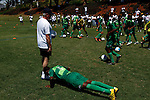 DURBAN - 26 January 2014 - Youths from AmaZulu's under 17 squad are the guinea pigs for a coaching course held by Dutch soccer coach Foppe De haan for over a 100 local coaches at Durban's Northwood School, including this youngster who had to do 10 push ups for losing sight of the ball. Picture: Allied Picture Press/APP