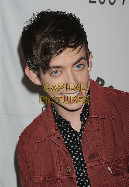 "KEVIN McHALE.The PaleyFest for ""Glee"" at the Saban Theatre in The Paley Center for Media in Beverly Hills, California, USA..March 16th, 2011.portrait headshot red denim white print polka shirt corduroy .CAP/ROT/TM.© TM/Roth/Capital Pictures"
