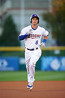 Buffalo Bisons third baseman Andy Burns (8) running the bases after hitting a home run during a game against the Lehigh Valley IronPigs on August 29, 2016 at Coca-Cola Field in Buffalo, New York.  Buffalo defeated Lehigh Valley 3-2.  (Mike Janes/Four Seam Images)