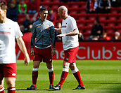24th March 2018, Anfield, Liverpool, England; LFC Foundation Legends Charity Match 2018, Liverpool Legends versus FC Bayern Legends; Luis Garcia and Gary McAllister of Liverpool Legends