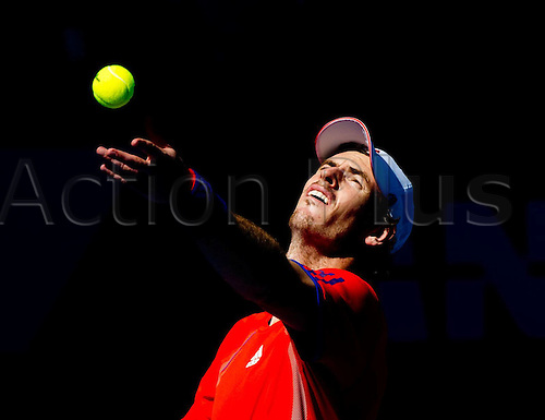 25.01.2012 Melbourne, Australia. The ATP and WTA Australian Open Tennis Tournament. Image shows.  Andy Murray of Britain serves