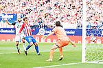 Atletico de Madrid's player Antoine Griezmann and Deportivo de la Coruña's player Laure and Lux during a match of La Liga Santander at Vicente Calderon Stadium in Madrid. September 25, Spain. 2016. (ALTERPHOTOS/BorjaB.Hojas)