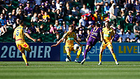 3rd November 2019; HBF Park, Perth, Western Australia, Australia; A League Football, Perth Glory versus Central Coast Mariners; Diego Castro of the Perth Glory has a shot blocked by Dylan Fox of the Central Coast Mariners - Editorial Use