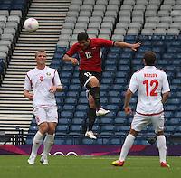 Men's Olympic Football match Egypt v Belarus on 1.8.12...Eslam Ramadan of Egypt, during the Men's Olympic Football match between Egypt v Belarus at Hampden Park, Glasgow.