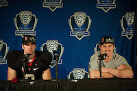 STANFORD, CA-NOVEMBER 30, 2012 - Kevin Hogan and Chase Thomas talk to the media after winning the PAC-12 Championship at Stanford Stadium. The Stanford Cardinal advances to the Rose Bowl with a 27-24 win over the UCLA Bruins.