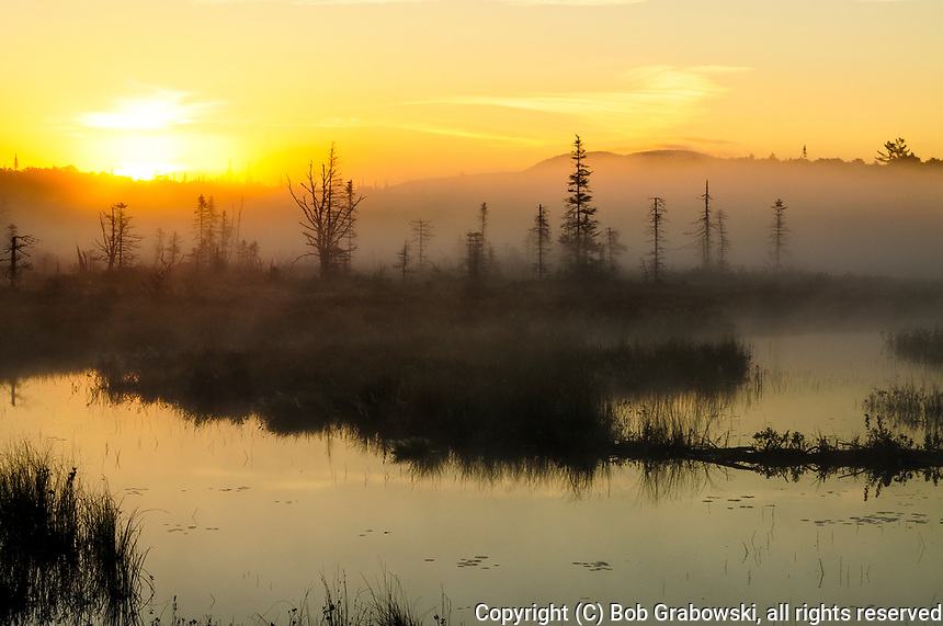 Sunrise over South Lake and the surrounding meadows in the Adirondack Mountains in New York State