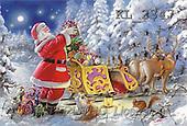Interlitho, Gilberto, CHRISTMAS SANTA, SNOWMAN, classical, paintings, santa, sleigh, animals(KL2347,#X#) Weihnachtsmänner, Papá Noel, Weihnachten, Navidad, illustrations, pinturas klassisch, clásico