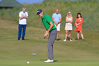 Tiarnan McLarnon (Masereene) on the 17th green during Round 4 of the East of Ireland Amateur Open Championship 2018 at Co. Louth Golf Club, Baltray, Co. Louth on Monday 4th June 2018.<br /> Picture:  Thos Caffrey / Golffile<br /> <br /> All photo usage must carry mandatory copyright credit (&copy; Golffile | Thos Caffrey)