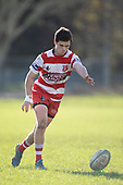 Matthew Hill attemps to convert the Scott Uren try. Counties Manukau Premier Club Rugby game between Karaka and Waiuku, played at Karaka Sports Park on Saturday June 9th 2018. Karaka won the game 22 - 18 after trailing 5 - 13 at halftime.  Photo by Richard Spranger.
