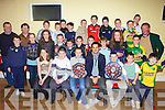 Asdee under twelve team who were presented with medals by Kerry football star Paul Galvin at the Community Centre, Asdee on Saturday evening were.  Front l-r. Haley Doyle, Owen Tydings, Darragh Keane, Paul Galvin, Niamh Carmody,Jack McKeown and James O'Connor.  Middle l-r. Maggie Flavin, Tadhg McEllistrim, Justine Kennelly, Amanda Collins, Niell Dowd, Eoin O'Connor, Colm O'Donoghue, Jack Collins, Jack Keane, Fossica Keane and Ryan henry.  back l-r. Jackie wall, John Wren, Cieran O'Connor, Michael Holly, Cian Barrett, Conor Keane, Paul Murphy, John Neville, Padraig O'Neil Darren Murphy, Ciarean Dowd, Sean Keane and J P McElligott..