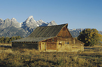 Old wooden Barn and grand teton range, Antelope Flats, Grand Teton NP,Wyoming
