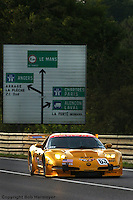 LE MANS, FRANCE: The Chevrolet Corvette C5-R 003 of Johnny O'Connell, Ron Fellows and Oliver Gavin at the beginning of the Mulsanne Straight during practice for the 24 Hours of Le Mans on June 16, 2002, at Circuit de la Sarthe in Le Mans, France.