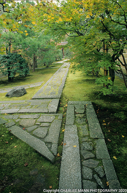 Creative use of simple natural materials is a hallmark of Japanese garden design, as illustrated in this pathway intersection.