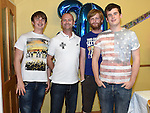 Podge Johnson celebrating his 30th birthday with brothers Gary, David and Scott at a surprise party in his home. Photo:Colin Bell/pressphotos.ie
