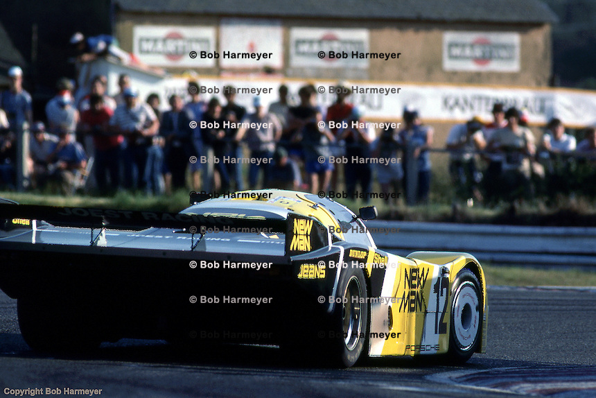 Porsche 956 driven by Volkert Merl, Dieter Schornstein, John Winter goes through the Mulsanne Corner during the 1984 24 Hours of Le Mans auto race.