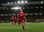Alex Oxlade-Chamberlain of Liverpool celebrates his goal during the Champions League Quarter Final 1st Leg, match at Anfield Stadium, Liverpool. Picture date: 4th April 2018. Picture credit should read: Simon Bellis/Sportimage