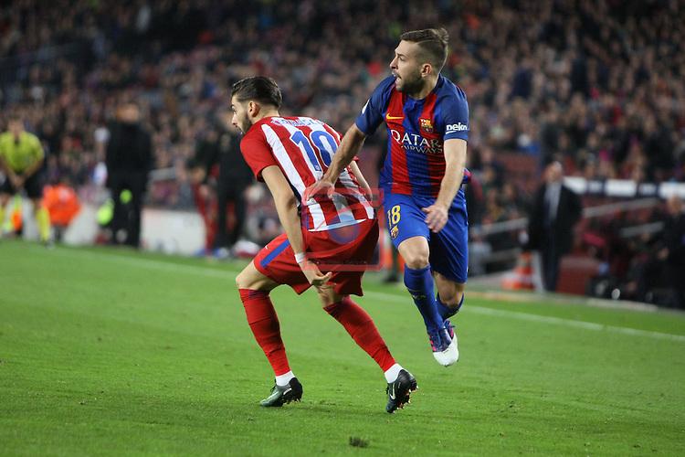 Copa del Rey 2016/2017 - Semifinal vuelta.<br /> FC Barcelona vs Atletico Madrid: 1-1.<br /> Carrasco vs Jordi Alba.
