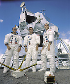 """Houston, TX - September 22, 1969 -- Portrait of the prime crew of the Apollo 12 lunar landing mission. From left to right they are: Commander, Charles """"Pete"""" Conrad Jr. Command Module pilot, Richard F. Gordon Jr. and Lunar Module pilot, Alan L.Bean. The Apollo 12 mission was the second lunar landing mission in which the third and fourth American astronauts set foot upon the Moon. This mission was highlighted by the Lunar Module nicknamed """"Intrepid"""" landing within a few hundred yards of a Surveyor probe which was sent to the Moon in April of 1967 on a mapping mission as a precursor to landing. .Credit: NASA via CNP"""