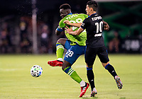 10th July 2020, Orlando, Florida, USA;  Seattle Sounders defender Yeimar Gomez (28) shoots the ball During the MLS Is Back Tournament between the Seattle Sounders v San Jose Earthquakes on July 10, 2020 at the ESPN Wide World of Sports, Lake Buena Vista FL.