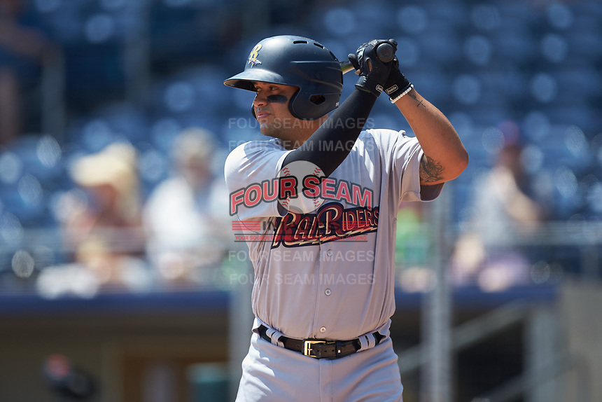 Francisco Arcia (38) of the Scranton/Wilkes-Barre RailRiders at bat against the Gwinnett Stripers at Coolray Field on August 18, 2019 in Lawrenceville, Georgia. The RailRiders defeated the Stripers 9-3. (Brian Westerholt/Four Seam Images)