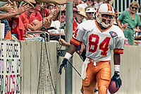 Charles Wilson celebrates after catching a touchdown pass, Detroit Lions at Tampa Bay Buccaneers NFL football game won by Tampa Bay 24-14 at Tampa Stadium, in Tampa , Florida on Sunday October 2, 1994 . (Photo by Brian Cleary/bcpix.com)