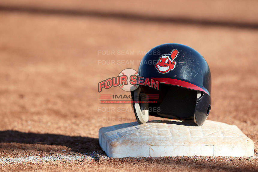 Helmet sits on top of third base at the Cleveland Indians Fantasy Camp at Goodyear Training Complex on January 16, 2012 in Goodyear, Arizona.  (Mike Janes/Four Seam Images)