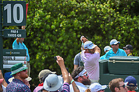 Dustin Johnson (USA) watches his tee shot on 10 during round 3 of The Players Championship, TPC Sawgrass, at Ponte Vedra, Florida, USA. 5/12/2018.<br /> Picture: Golffile | Ken Murray<br /> <br /> <br /> All photo usage must carry mandatory copyright credit (&copy; Golffile | Ken Murray)