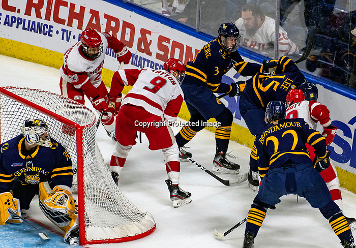 January 26, 2020:  Action behind the Quinnipiac net in the finals of the Connecticut Ice Hockey Tourney.  Sacred Heart (red)  prevailed 4-1 upsetting the 17th ranked Bobcats. The inaugural event was held at the Webster Bank Arena in Bridgeport, Connecticut.  Heary/Eclipse Sportswire/CSM