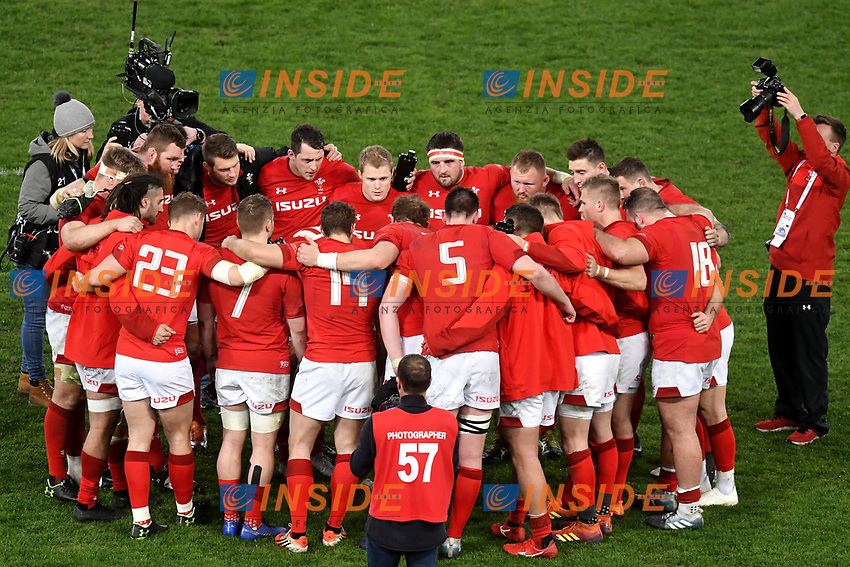 Wales team at the end of the match <br /> Roma 9-02-2019 Stadio Olimpico<br /> Rugby Six Nations tournament 2019  <br /> Italy - Wales <br /> Foto Andrea Staccioli / Resini / Insidefoto