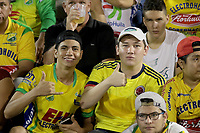NEIVA - COLOMBIA, 19-05-2018: Hinchas del Huila animan a su equipo durante el partido de vuelta entre Atlético Huila y Patriotas F.C. por los cuartos de final de la Liga Águila I 2018 jugado en el estadio Guillermo Plazas Alcid de la ciudad de Neiva. / Fans of Huila cheer for their team during the second leg match between Atletico Huila and Patriotas F.C. for the quarterfinals of the Aguila League I 2018 played at Guillermo Plazas Alcid in Neiva city. VizzorImage / Sergio Reyes / Cont