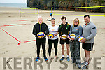 Launching the National Volleyball Tour in Ballybunion on August 12 and 13 at Ladies Beach were Jimmy Deenihan, Chairman of Kerry Sports Partnership, Marie Claire Sabogal, Volleyball Ireland, Aaron Smith, Player, Vera Hauriskova, Volleyball Ireland, and Andy Smith, Kerry County Council,