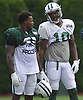 Marquess Wilson #10 of the New York Jets, right, chats with Shamarko Thomas #25 during training camp at the Atlantic Health Jets Training Center in Florham Park, NJ on Friday, Aug. 4, 2017.